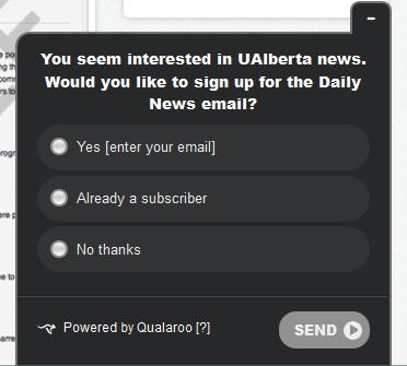 Форма Qualaroo для побуждения людей на подписаку