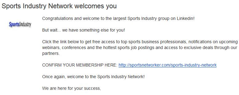 Приветственное письмо Sports Industry Network