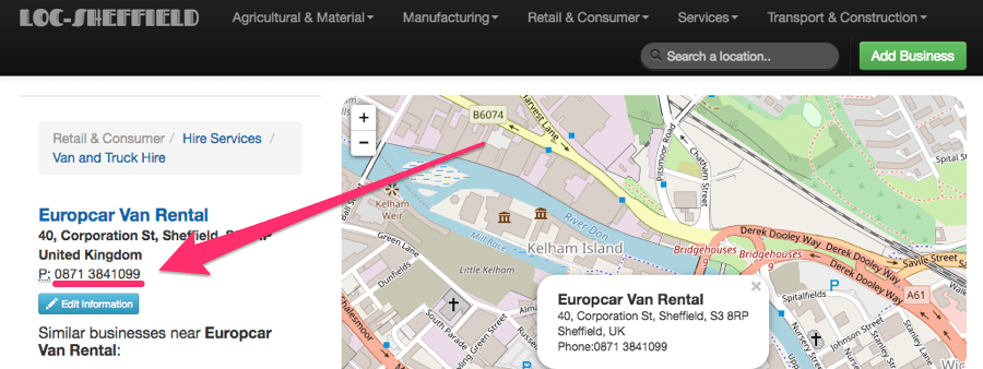 Приклад пошуку europcar sheffield + corporation street + 0871