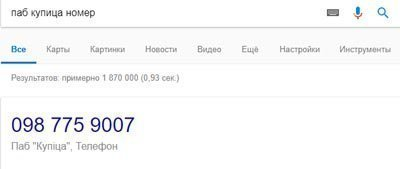 Информация в карточках результата поиска Google