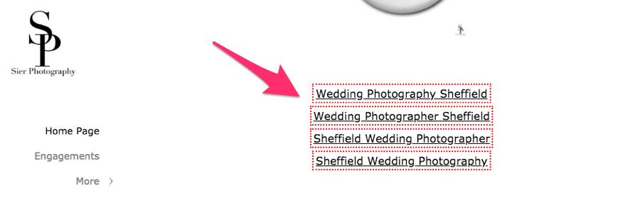 Перевірка посилання з футера на сайті sierphotography.com