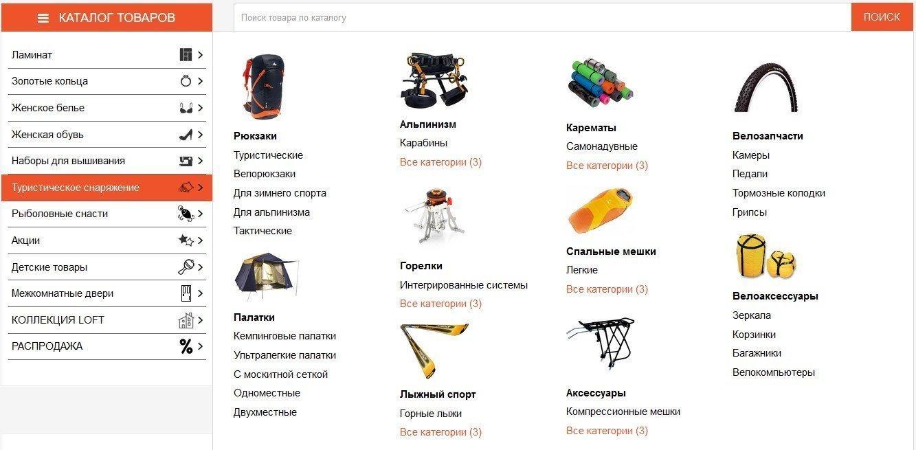 Мега-меню Интернет-магазина с правильной SEO-структурой, пример