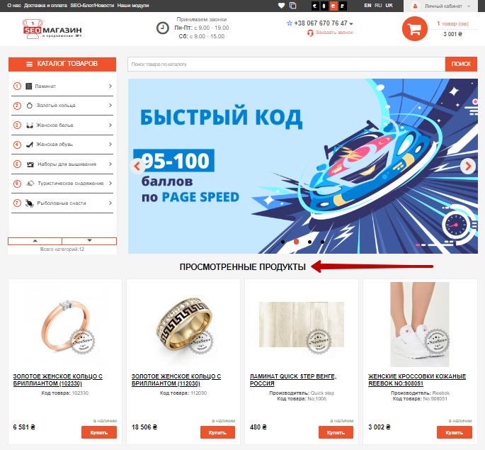 Вигляд головної сторінки сайту після налаштування модуля Переглянуті товари