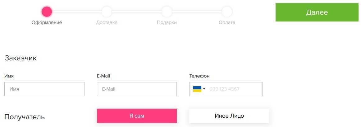 Приклад оформлення замовлення на сайті